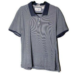 Original Penguin Blue Striped  Polo Shirt Size XL